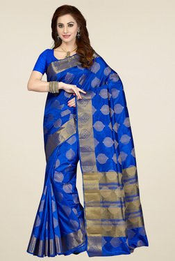 Ishin Ink Blue Zari Saree With Blouse