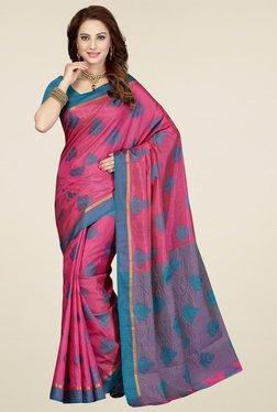 Ishin Pink & Blue Printed Saree