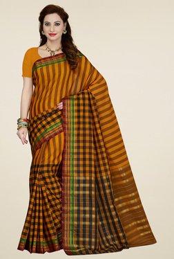 Ishin Mustard & Black Printed Saree