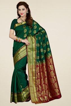 Ishin Green Art Silk Saree