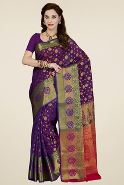 Ishin Purple & Red Printed Saree
