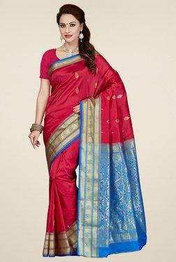Ishin Dark Pink & Azure Blue Art Silk Saree