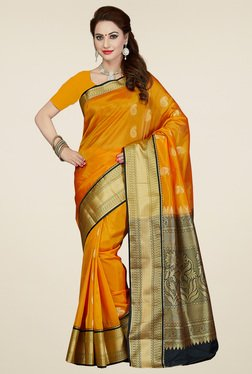 Ishin Orange Art Silk Saree