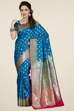 Ishin Azure Blue Banarasi Art Silk Saree