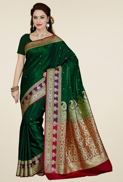 Ishin Dark Green Banarasi Art Silk Saree