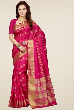 Ishin Magenta Printed Saree With Blouse