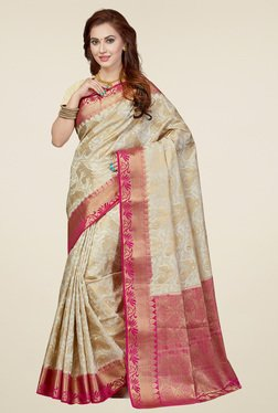 Ishin Beige Printed Saree With Blouse