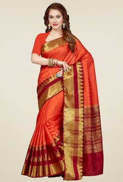 Ishin Orange & Red Printed Saree