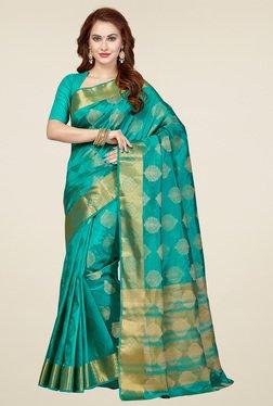 Ishin Sea Green Printed Saree With Blouse