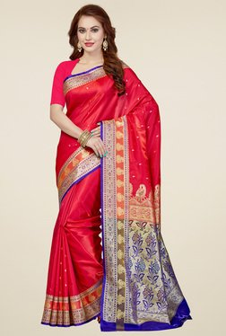 Ishin Red Zari Saree With Blouse