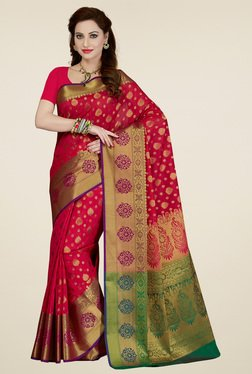 Ishin Red & Green Printed Saree With Blouse
