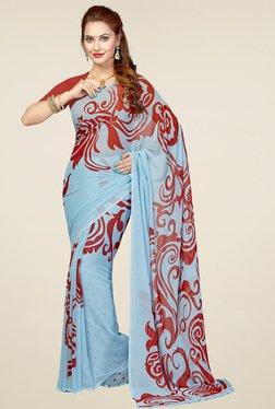 Ishin Light Blue & Red Printed Saree