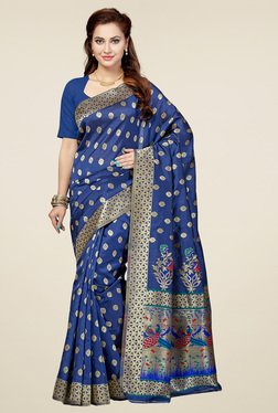 Ishin Navy Printed Saree With Blouse