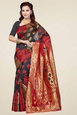 Ishin Black & Red Printed Saree