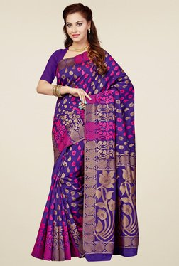 Ishin Purple Printed Saree With Blouse