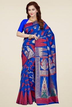 Ishin Royal Blue & Red Printed Saree