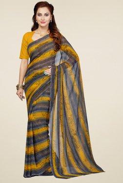 Ishin Mustard & Grey Printed Saree