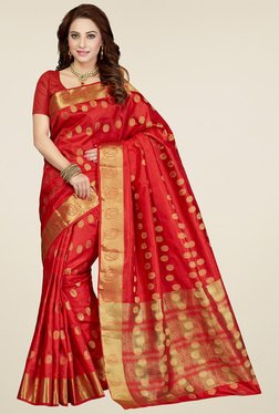 Ishin Red Zari Printed Saree With Blouse