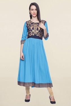 Mytri Turquoise Printed Rayon Anarkali Kurta