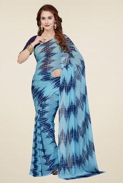 Ishin Blue & Navy Printed Saree