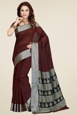 Ishin Brown & Grey Printed Saree