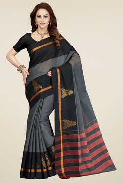 Ishin Grey & Black Embroidered Saree