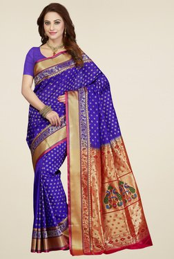 Ishin Purple Zari Saree With Blouse