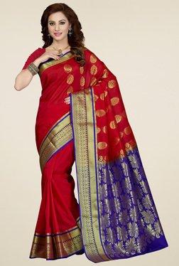 Ishin Red & Blue Art Silk Saree