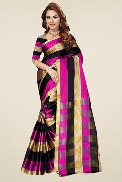 Ishin Pink & Black Zari Saree