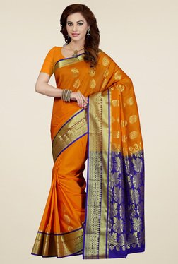 Ishin Orange & Blue Art Silk Saree