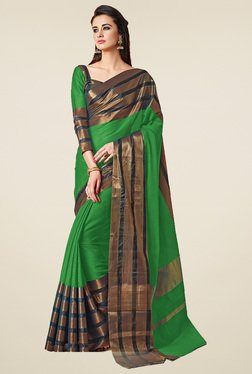 Ishin Green Zari Saree With Blouse