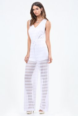 bebe White Lace Jumpsuit