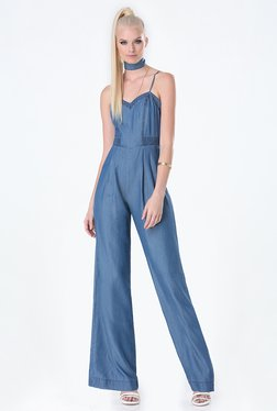 bebe Blue Solid Jumpsuit
