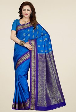 Ishin Blue Art Silk Saree