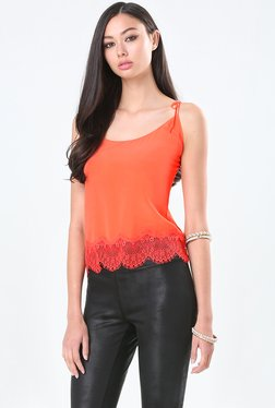 Bebe Orange Lace Tank Top