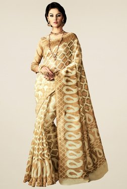 Saree Mall Beige Bangalori Silk Saree
