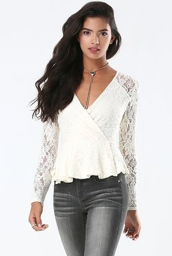 Bebe White Lace Peplum Top