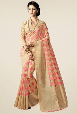 Saree Mall Beige & Pink Printed Saree