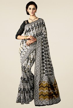 Saree Mall Grey & Black Printed Saree