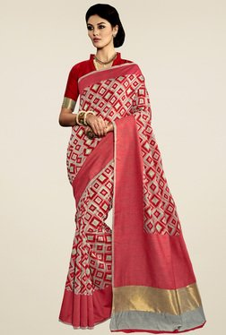 Saree Mall Pink & Grey Printed Saree