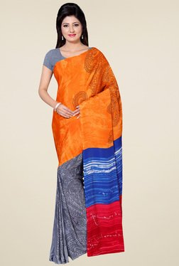 Saree Mall Orange & Grey Printed Saree