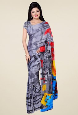Saree Mall Light Grey Printed Saree