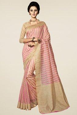 Saree Mall Pink & Beige Printed Saree
