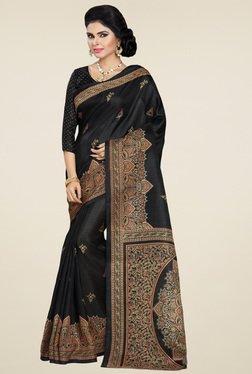 Saree Mall Black Khadi Silk Printed Saree