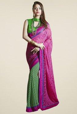 Saree Mall Pink & Green Printed Saree