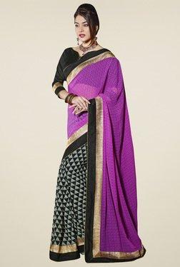 Saree Mall Pink & Black Printed Saree