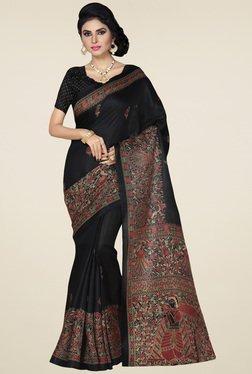 Saree Mall Black Printed Khadi Silk Saree