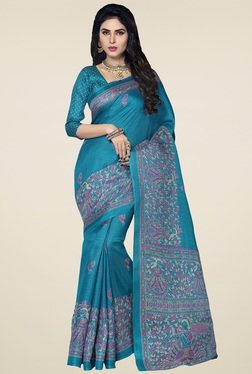 Saree Mall Teal Blue Printed Saree