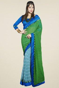 Saree Mall Green & Blue Printed Saree