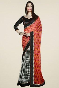 Saree Mall Orange & Black Printed Saree